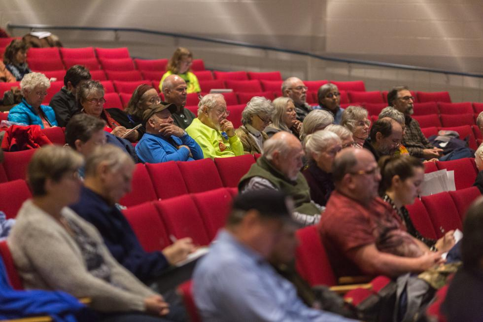 Attendees of the Southwest Pennsylvania Environmental Health Project meeting on compressors and pipelines, listen to speakers at Frontier Regional High School, Saturday, January 30. Recorder Staff/Matt Burkhartt - Matt Burkhartt |
