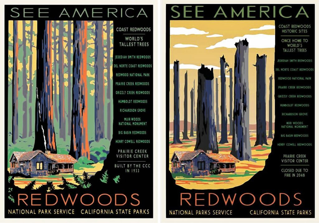 Left:  Classic WPA poster and, right,  imagined poster  by Hannah Rothstein of Redwoods National Park in 2050.