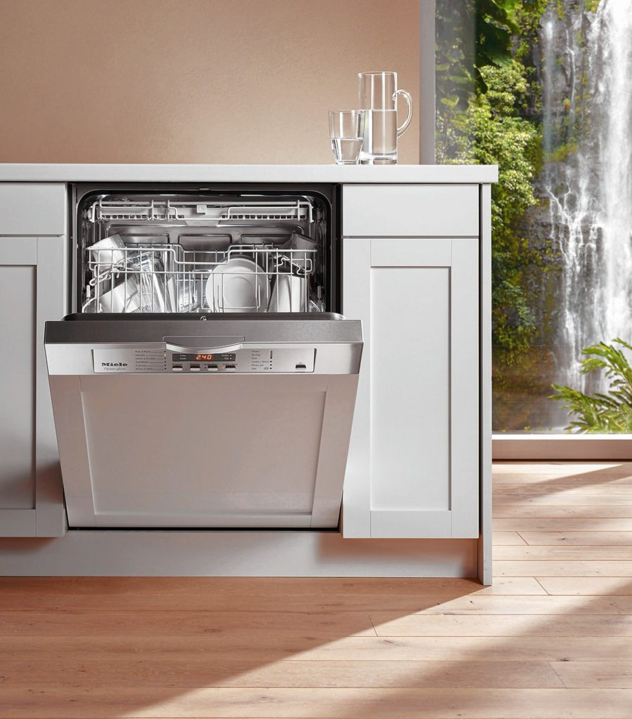 The front of this diswasher matches the cabinets and the exterior digital controls allow you to follow the progression of the cycle.