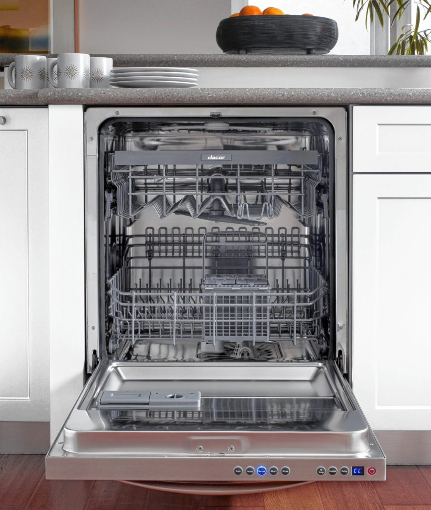 This stainless steel front dishwasher has an automatic soil sensor (turbidity) technology and five wash cycles: Auto, Heavy, Normal, Short, Rinse.