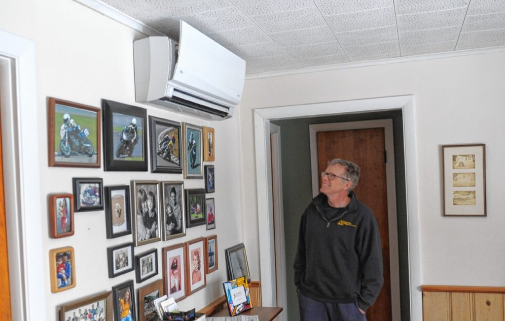 Ken Condon uses mini splits to heat and cool his home in Ashfield.   April 16, 2018