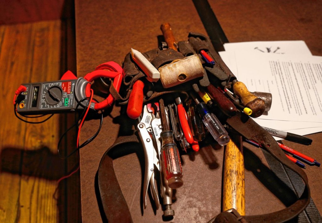 Tools set out during the Repair Public sponsored fix-it event at Seymour pub, on Sunday, Feb. 25, 2018 in Greenfield.