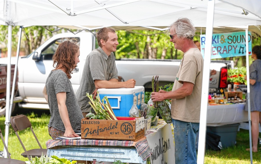 Hannah Sol and Joe Connelly, of Everyday Farm in Gill, talk with Tom Ashley at their stand at the farmers market in Turners Falls on Wednesday afternoon, May 23, 2018.