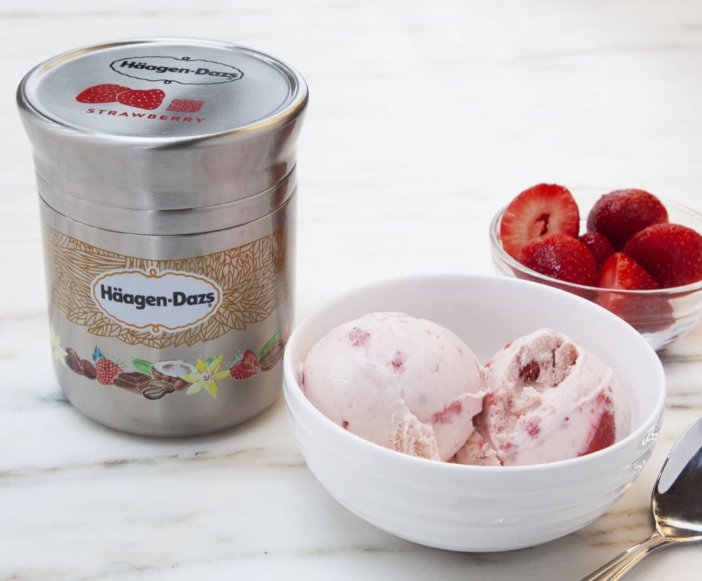 This photo shows Nestle's stainless steel Häagan-Dazs ice cream container designed for use with Loop. The new shopping platform announced at the World Economic Forum aims to change the way people buy many products, from food to personal-care and home products. Loop would do away with disposable containers for some name-brand products, including some shampoos and laundry detergents. Instead, those products would be delivered in sleek, reusable containers that will be picked up at your door, washed and refilled. (Chris Crane/TerraCycle via AP)
