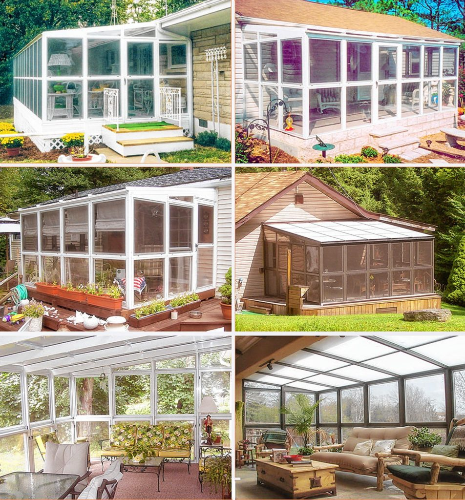 These do-it-yourself kits are lightweight and easy to build. The window panels can be removed to create a screened porch.