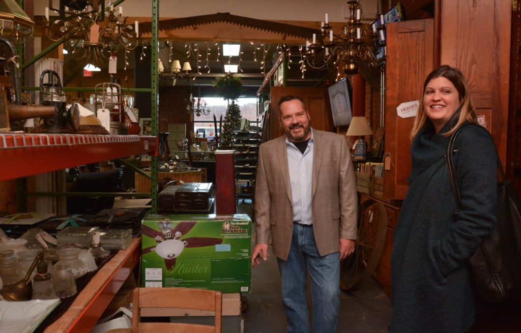 Ron Pike, who is the owner of Castle Architectural Salvage in Northampton, and Emily Estes, an architect and interior designer, talk about the use of salvaged items at Pike's store, Thursday, Nov. 21, 2019.