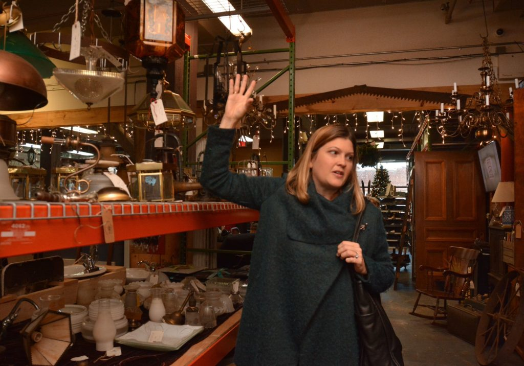 Emily Estes, an architect and interior designer, talks about the use of salvaged items at Castle Architectural Salvage in Northampton, Thursday, Nov. 21, 2019.