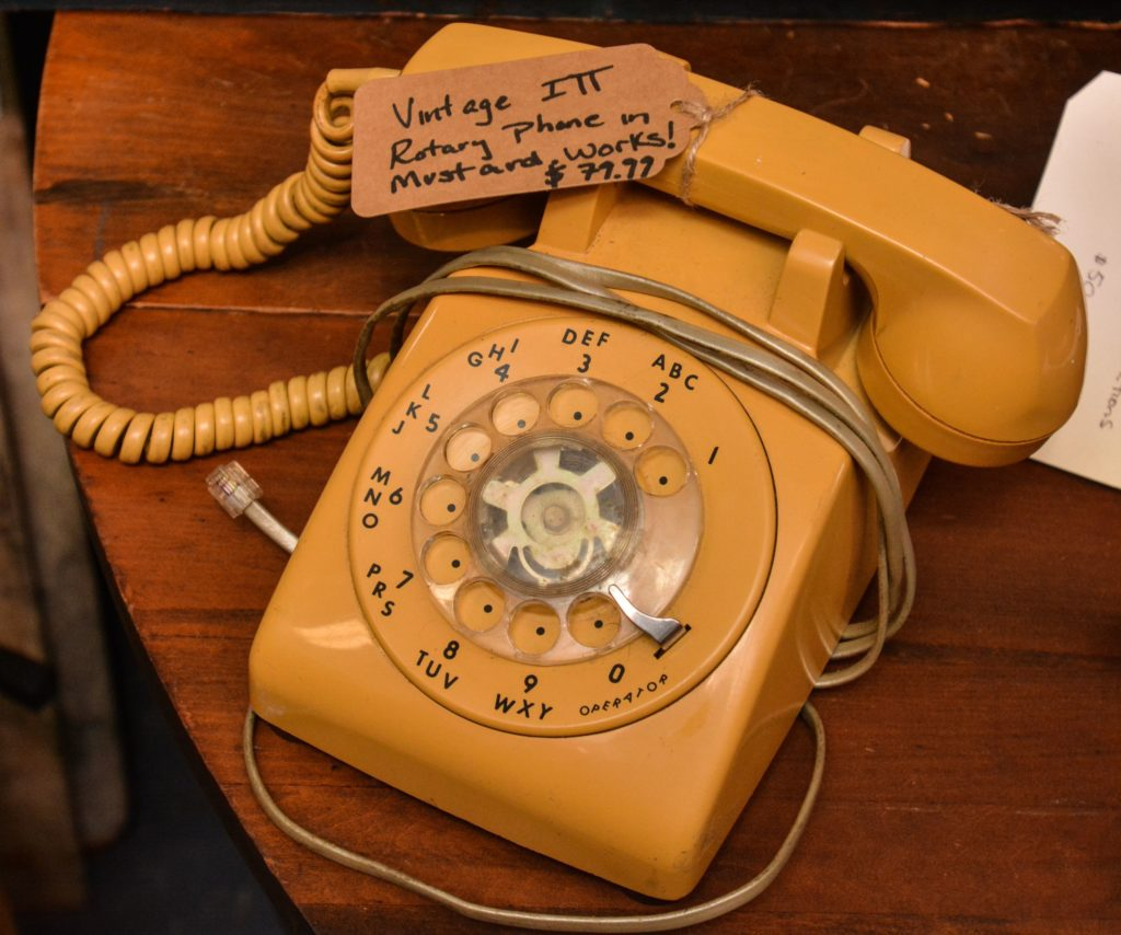 A vintage rotary phone at Castle Architectural Salvage in Northampton.